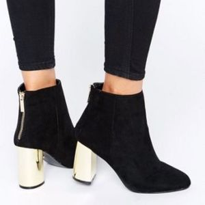 Oasis Suede BECKI Gold Block Ankle Boots Size 39